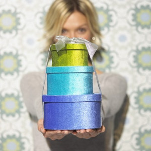 Woman Offering Colorful Present