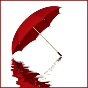 Red umbrella with reflection in water